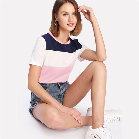 Women's Pink/White/Black Block Pattern Short Sleeve T-Shirt