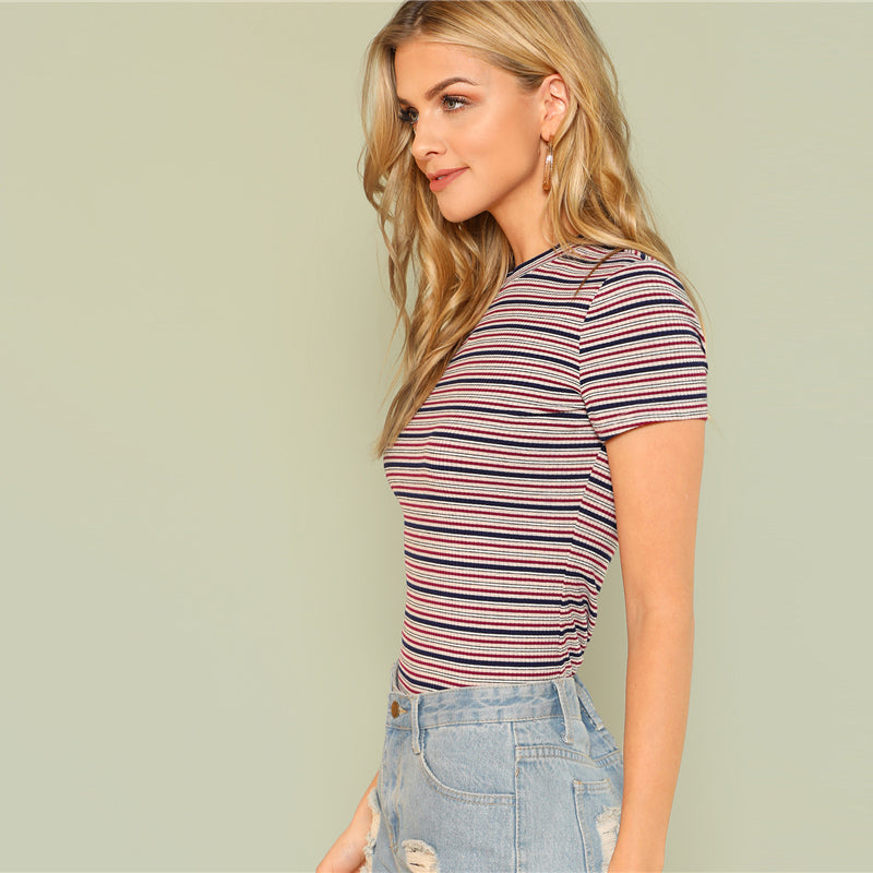 Women's Striped Short Sleeve Multicolor T-Shirt