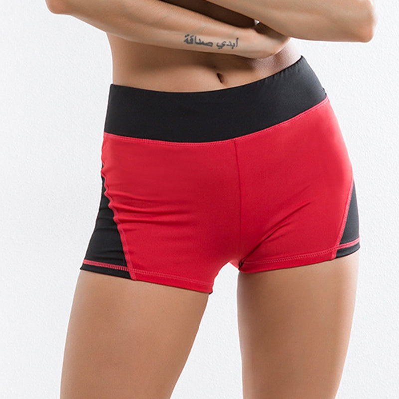 Women's Red High Waist Heart Active Shorts