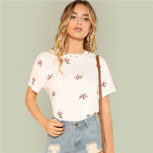 Women's Flower Printed Short Sleeve Floral T-Shirt