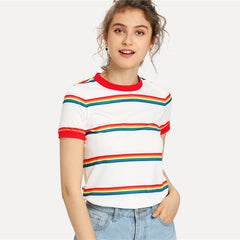 Women's Rainbow Stripe Short SleeveT-Shirt