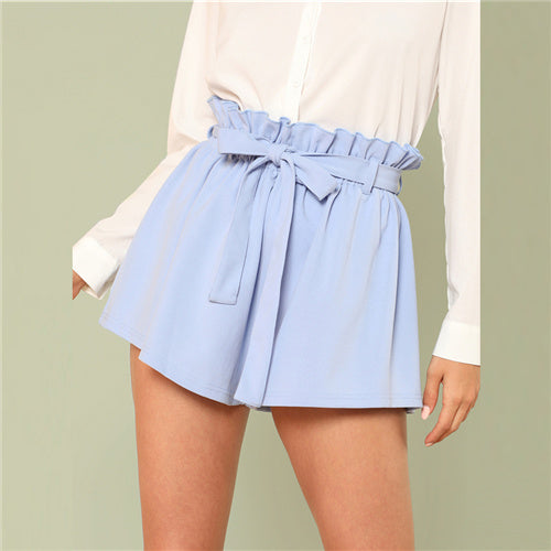 Women's Blue Ruffle Trim Elastic High Waist Shorts