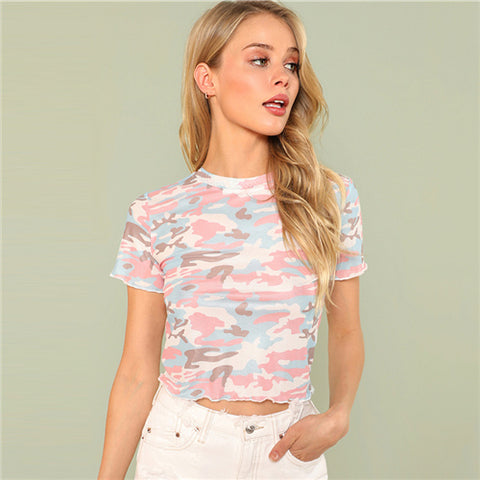 Women's Camo Crop Top Tee
