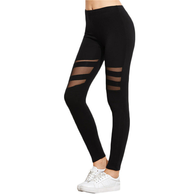Women's Black Skinny Striped Mesh Active Leggings