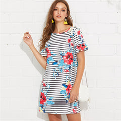 Women's Floral and Striped Printed Dress