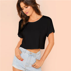 Women's Roll Up Sleeve Crop Top Black T-Shirt