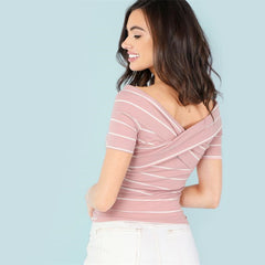Women's Crisscross Front Striped Short Sleeve T-Shirt