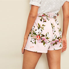 Women's Pink Beach Tie Floral Shorts
