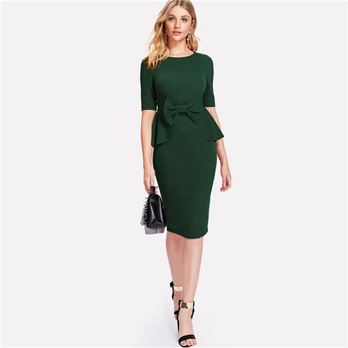 Women's Green Bow Embellished Pencil Ruffle Dress