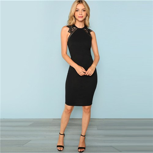 Women's Black Sleeveless Lace Dress