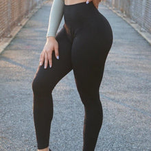 Load image into Gallery viewer, Thrive Cobalt Black Leggings - The Omega Fitness Workout Apparel