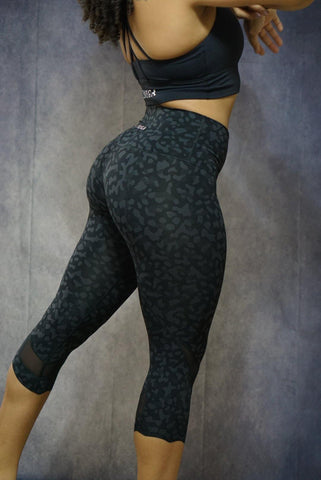 Breathless Leopard Capri Mesh Gym Leggings
