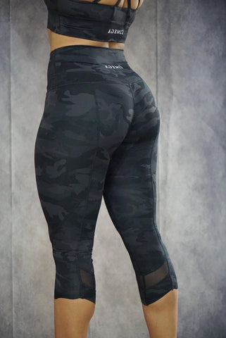 Breathless Camo Capri Mesh Gym Leggings
