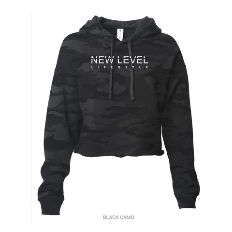 New Level Signature Crop Hoodie- (Camo Black / White)