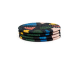 Black + Neon Mosaic Coasters, Set of 4