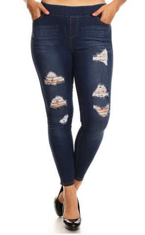 Distressed Jeggings - CURVY
