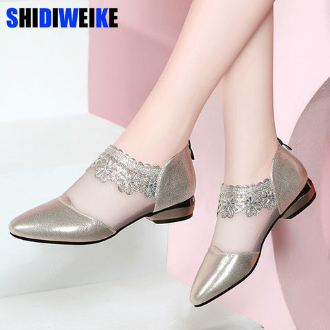 Women Shoes Bling Bling Pointed Toe Flats