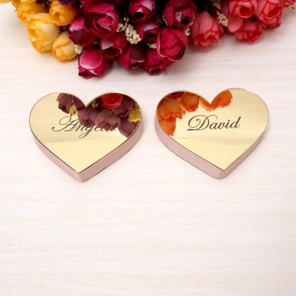 2 pieces/set Personalized 6cm Mirrored Hearts 1cm EVA Ribbon Custom Name Wedding Guest Gift Party Decor Verlobungstablett Favors