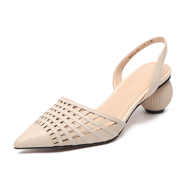 Women' s Sandals Cow Leather Gridding Woven
