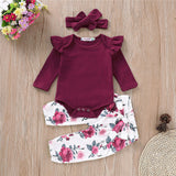 Print Infant Toddler Tops Pants Headbands  Outfit