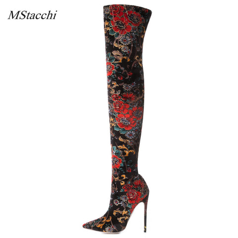 Mstacchi Winter Female Over The Knee Boots