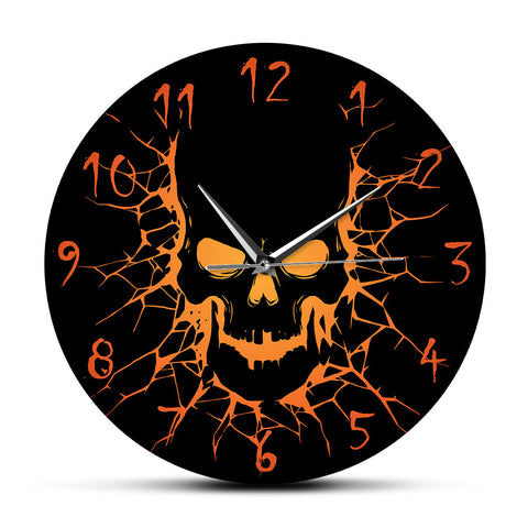 Skull with Crack Hole Horror Wall Clock