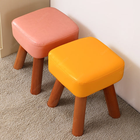 Modern Leather Solid Wood Stool