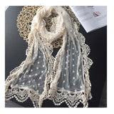 Surface floral poka dots handmade embroidery scarf