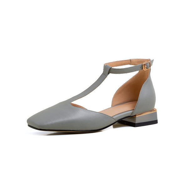 Women Natural Genuine Leather Flat T-strap