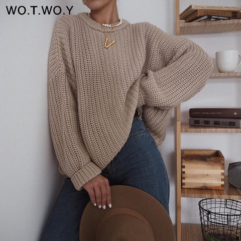 WOTWOY Elegant Autumn Oversized Sweater Women Solid Loose Knitted Sweaters Women Long Sleeve Pullover Female Jumper Cashmere New
