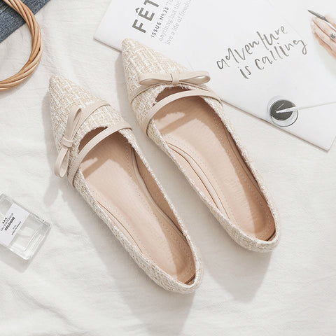 Women Flats Pointed Toe Beige