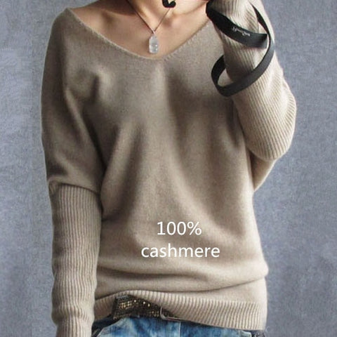 Spring autumn cashmere sweaters women fashion sexy v-neck pullover loose 100% wool batwing sleeve plus size knitted tops