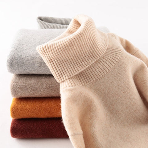 100% Merino Wool Women Turtleneck Sweater 2020 Autumn Winter Warm Soft knitted Pullover Femme Jumper Women Cashmere Sweater