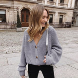 Women Knitted Cardigan 2020 Autumn Sexy V-Neck Batwing Sleeve Button Oversized Sweater Casual Loose Solid Female Cardigan Tops