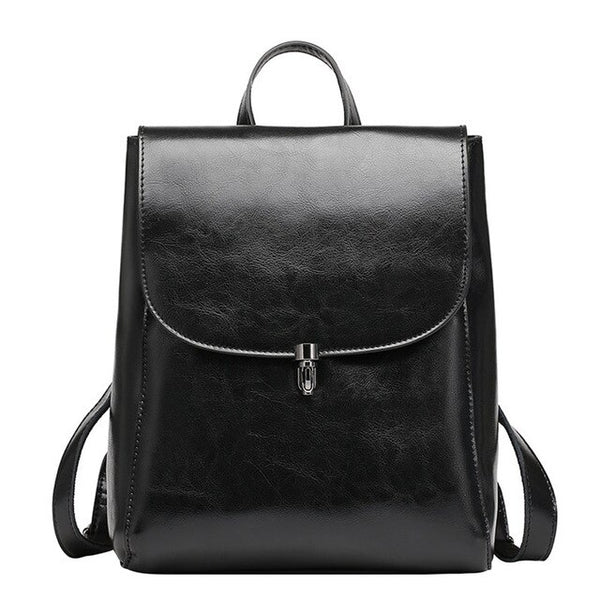 Genuine Leather Knapsack Casual Travel Bag