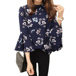 Autumn Floral Chiffon Blouse with Flare Sleeve