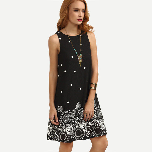 Black Polka Dot Print Mini Dress