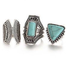 3pcs/Set Vintage Stone Rings