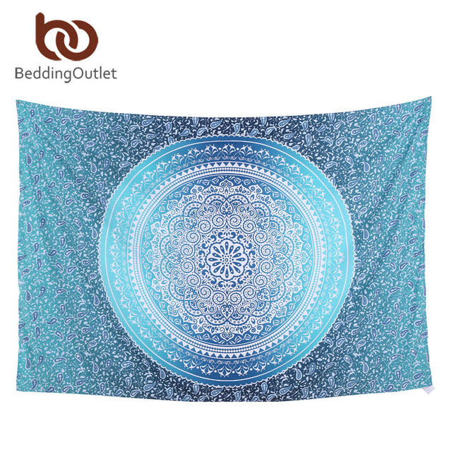 All Light Blue Circular Pattern Tapestry