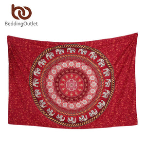 Red and White Elephant Featured Tapestry