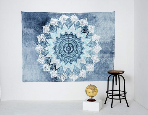Light Blue Indian Mandala Tapestry