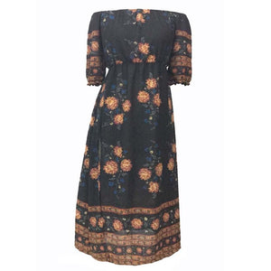 Vintage Floral Printed Half Sleeve Split Dress