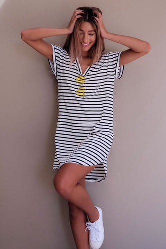 Casual Striped V Neck Dress