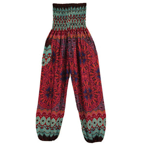 Women's High Waist Printed Beach Boho Harem Pants