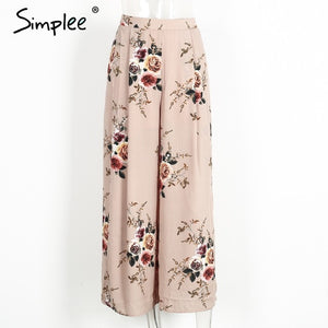 Floral Design Side Split Pants