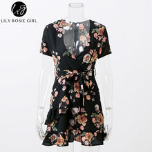 Elegant Black Floral Print Mini Dress