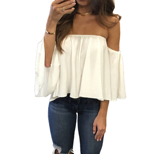 Off Shoulder Three Quarter Slash Neck Top