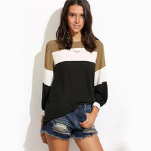 Striped Lantern Sleeve Casual Top