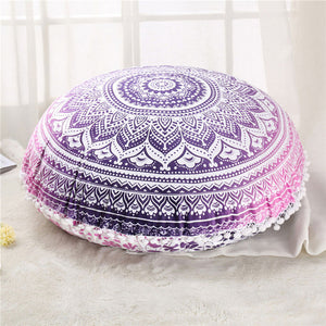Round Mandala Floor Pillow Case Cover