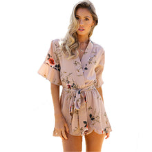 copy for multiple varient Summer Style Beach Rompers Women Jumpsuit Ladies Sexy Elegant Casual Beach Print V Neck Playsuit Shorts Feminino Boho Overalls